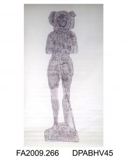Brass rubbing, in black heel-ball, on white paper, Henry Bures, 1528, in armour, shields and inscription lost, church at Acton, Suffolk, by Herbert Druitt, 1876-1943' Henry Bures Esq, Acton, Suffolk; head on helm; wearing gauntlets and tuilles (two in
