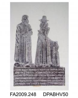 Brass rubbing, in black heel-ball on white paper, Thomas Smyth, jurat, 1610, with wife, Mary and daughter, Elizabeth, (other daughter Mary lost), in civilian dress, church at New Romney, Kent, by Herbert Druitt