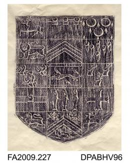 Brass rubbing, in black heel-ball, on white paper, unidentified coat of arms, shield divided into 15 different symbols, at Salisbury Cathedral, Wiltshire, undated, by Herbert Druitt, 1876-1943