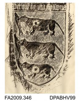 Brass rubbing, in black heel-ball, on white paper, shield with 2 lines of Latin inscription, coat of arms to Thomas Prude, 1468, on pillar of N nave, St Alphege Church, Canterbury, Kent, by Herbert Druitt, 27.6.1899