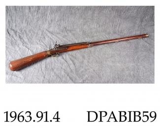Air rifle, military, Repetier Winbuchse model M.1780, 11mm caliber, Girandoni design, with tubular magazine, made by Rigider, Copenhagen, Denmark c1800