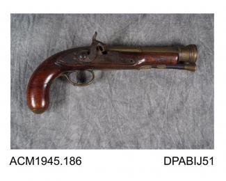 Pistol, brass blunderbuss barrel, made by Langson, Dublin, Eire, about 1790