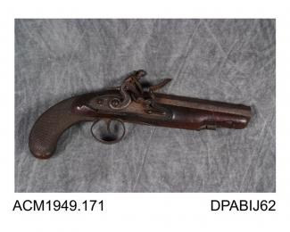 Pistol, 22 bore, Tower proof mark, owned by E Carrington? made by Bond, about 1800