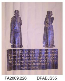 Brass rubbing, in black heel-ball, on white paper, John Martin in civilian dress and wife, Margaret, c1600, with six lines of Latin inscription, church at Barton, Cambridgeshire, by Herbert Druitt, 1876-1943