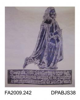 Brass rubbing, in black heel-ball on white paper, John Bartelot, date unknown, kneeling in prayer, three lines of Latin inscription, church at Stopham, Sussex, by Herbert Druitt, 1876-1943