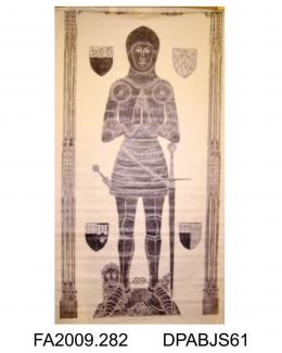 Brass rubbing, in black heel-ball, on white paper, Sir John Lysle, Lord of Wodington in the Isle of Wight, husband of Lady Elizabeth Lysle, died 1407, brass engraved c1425, in armour, triple canopy, marginal inscription and 4 shields, church at Thruxton