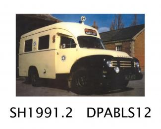 Ambulance, J4 Bedford ambulance, black and cream, with 6 cylinder petrol engine, RAF type, used at RAF Farnborough, then used by the St John's Ambulance, made by Bedford, Vauxhall Motors, Luton, Bedfordshire, 1953, first registered 23.6.1960