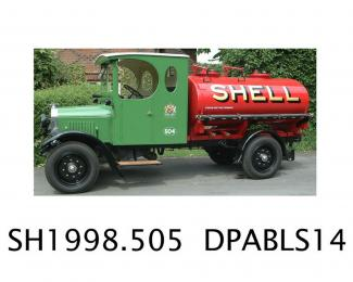 Petrol tanker, A1 chassis with Shell livery petrol tank, made by Thornycroft, 1925