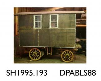 Caravan, horse drawn 'Maisonette' caravan, made by Hutchings, Winchester, Hampshire, 1919