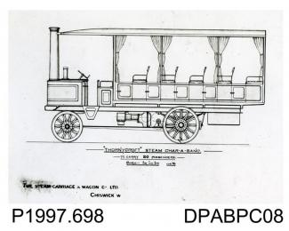 Photograph, black and white, showing an engineering drawing of a 20 seater steam charabanc, built by Thornycroft, Worting Road, Basingstoke, Hampshire