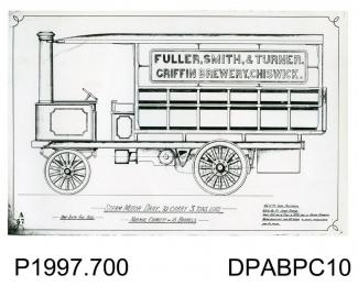 Photograph, black and white, showing an engineering drawing of a 3 ton steam motor dray, built by Thornycroft, Worting Road, Basingstoke, Hampshire