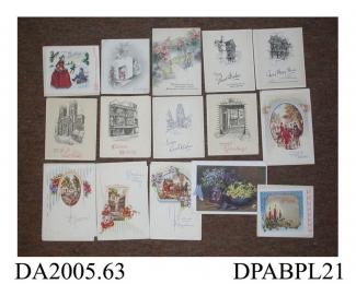 Christmas card, 15 examples, unused in contemporary envelopes, various publishers, c1930-1950