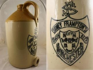 Brown and cream stoneware jug used for holding ginger beer, manufactured by J Price of Bristol and used by Sidney Frampton of Winchester