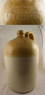 Brown and cream stoneware jug used for wine or spirits, manufactured by Powell of Bristol and used by James Rendle of Winchester