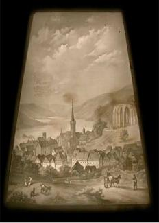 Shows a view of Bacharach am Rhine in western Germany