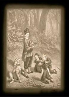 Shows a scene in a wood with an old man, open book in hand, a dog by his side and three children kneeling before him.
