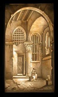 Shows a Prisoner in a large vaulted chamber