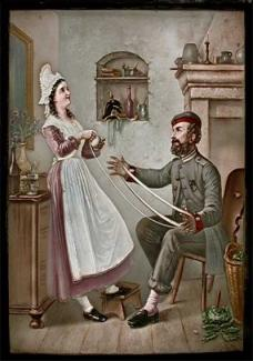 Shows a domestic scene of a young woman winding wool with a soldier.