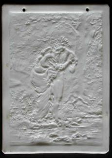 Lithophane Young couple in medieval dress crossing a stream