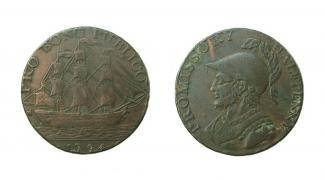 Token, copper alloy, issued by J Jordans, at Gosport, Hampshire, 1794.