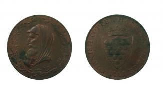 Halfpenny token, copper alloy, issued at Cornwall, 1791.