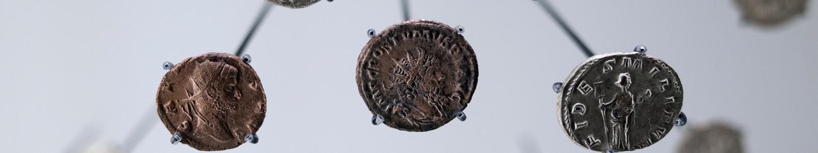 Coin, penny, part of a hoard found by metal detector at Portsdown Hill, near Portchester, Fareham, Hampshire, 1995, issued by Stephen, minted in a northern mint, 1135-1154